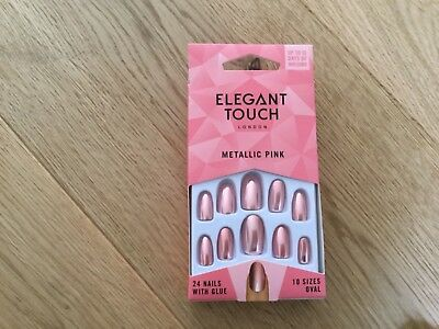 Elegant Touch OVAL tip Metallic Pink 24 Nails with Glue 10 Sizes BRAND NEW