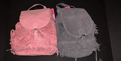 Girls Pink Or Gray Fringed Backpack Purse New!