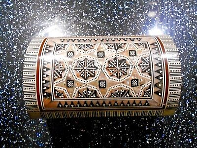 Vintage Syrian Mother of Pearl Inlay Wooden Dome Lid Box Nice Details