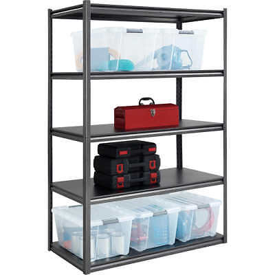 "NEW Whalen 5-Shelf Heavy Duty Steel Shelving Unit, 48""W x 24""D x 72""H, Black NIB"