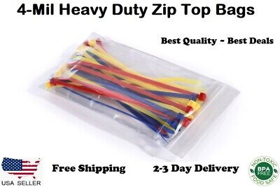 """HEAVY DUTY 4 Mil Clear Ziplock Bags Reclosable Top Poly Plastic Jewelry 4Mil """"Ml"""