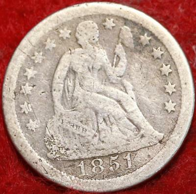 1851-O New Orleans Mint Silver Seated Liberty Dime