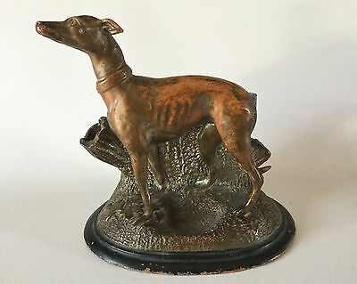 Antique 1870s Red Ware Pottery WHIPPET Greyhound Dog Cigar Match Holder 2055 CS