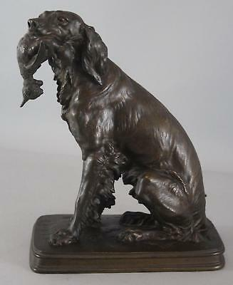 Antique Authentic F Pautrot English Setter Hunting Dog Bronze Sculpture