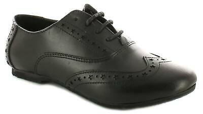 New Girls/Childrens Black Leather Brogue Lace Fastening School Shoes UK Size