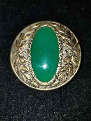 "Antique Victorian Ornate Metal Button Oval Emerald Green Stone 1 5/8"" A69"