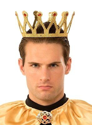 Adult Gold Medieval Royal King Plastic Crown Prince Costume Accessory New