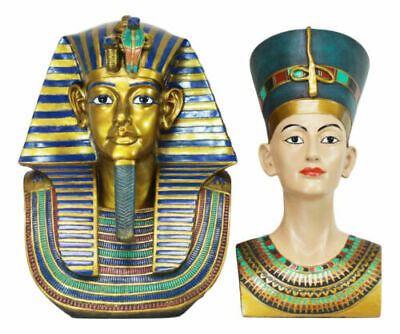 Large Egyptian Pharaoh King Tut And Queen Nefertiti Bust Statue Set Of 2 Decor