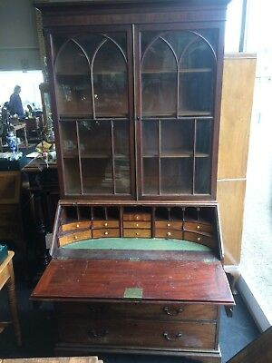 Antique Late 18th Century Georgian Mahogany Curved Bureau Bookcase With Drawers