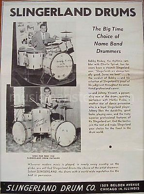 """SLINGERLAND  DRUM AD 1946 BOBBY RICKEY & JOHNNY VINCENT with """"Radio King"""" drums"""