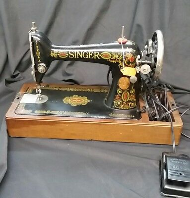 Antique 1919 Model 66 Electric Singer Sewing Machine, w/ Case WOODEN DOME CASE