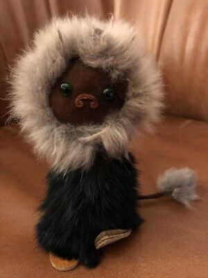 Vintage Eskimo Cat ~ Real Fur, Leather, Green Glass Eyes! Unusual