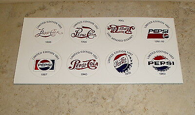 Pepsi Cola Sheet of 8 Milk Caps / Pogs of Pepsi Logo History Pictures with Dates
