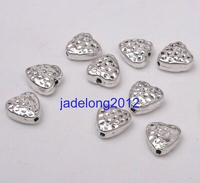 30pcs Tibetan Silver Charms Double Sided Heart Spacer Beads 8x8mm bead C3090