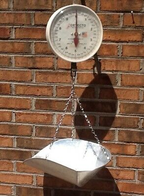 Vintage Detecto  20 LB Hanging Farm Scale With Scoop Pan,Market Grocery Farmer