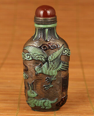 Rare China Old coloured glaze Hand Carved Eagle Hunt Rabbit Statue Snuff Bottle