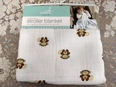 NEW! aden + anais Stroller Blanket Safari Friends - Monkey