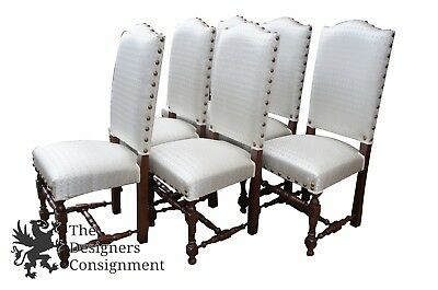 6 Jacobean Spanish Style Dining Chairs Oak Spindle Leg White Fleur-de-Lis Seat