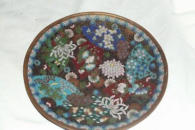 """STUNNING VINTAGE CHINESE japanese cloisonne CHARGER PLATE 7 1/4"""" DETAIL"""