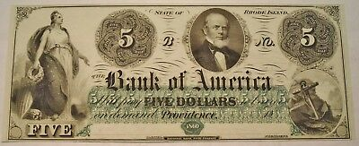 1860 $5 Bank of America Providence RI Obsolete Currency Uncirculated Note