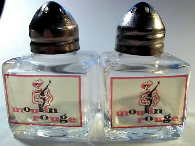 Moulin Rouge Casino Chip logo Glass Salt and Pepper Shakers in Mint!