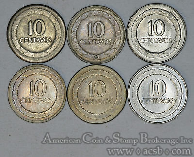 Colombia 10 Centavos 1947 1948 1950 1951 1967 KM#207.2 6 Coin Lot 4 Silver
