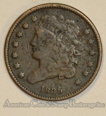 1/2c Half Cent Penny 1835 CLASSIC HEAD popular type coin