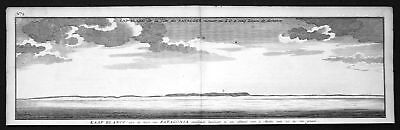 1749 Patagonia Argentina Chile costa view Kupferstich antique print Anson