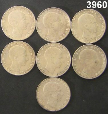 Yugoslavia 50 Dinara 1938 Silver Eagle Lot Of 7 Coins All Au/bu #3960