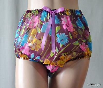 VINTAGE STYLE SILKY SHEER SHIMMERY FLORAL NYLON PANTIES KNICKERS Lg    =