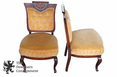 2 Antique Empire Chairs Inlaid Mahogany Mother of Pearl Tufted Shield Back