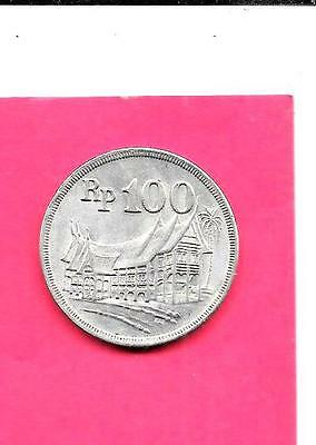 Indonesia Km36 1973 Xf-Super Fine-Nice Loarge Old 100 Rupiah Coin
