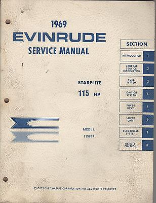 1969 Evinrude Outboard Motor Starflite  115 Hp Service Manual Used