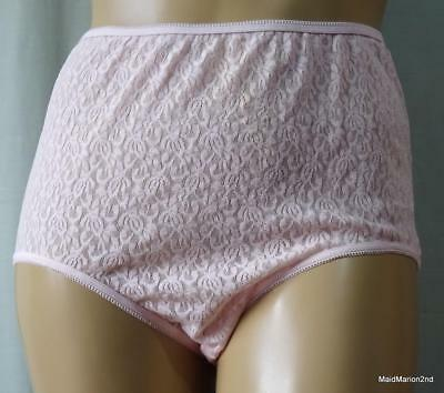VINTAGE STYLE SEE-THROUGH PINK NYLON LACE PANTIES KNICKERS XXL UK 22/24      c