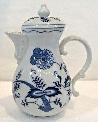 Blue/White Porcelain Blue Danube 99183 Banner/Ribbon Stamp Coffee Pot 2 Cup