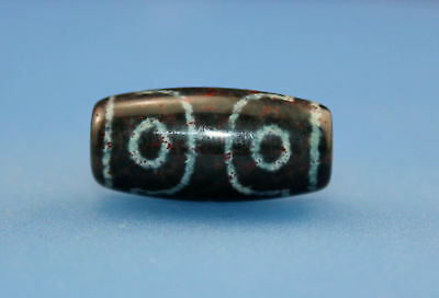 25*12mm Antique Dzi Agate old cinnabar 3 eyes Bead from Tibet **Free shipping**