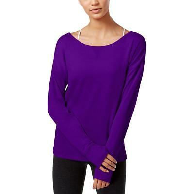 Ideology 1472 Womens Purple Strappy Keyhole-Back Long Sleeves Sweatshirt XS BHFO