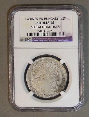 1780-B SK-PD Hungary 1/2 Thaler Silver Coin NGC Mother Theresa AU details