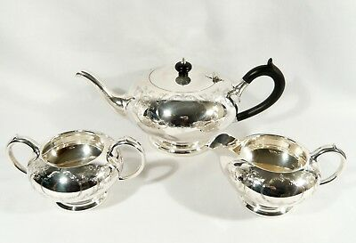 "BIRKS Regency Silver Plate TEA SET "" London Engraved ""  TEAPOT CREAM & SUGAR"