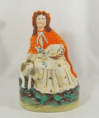 Antique Staffordshire Figurine Large LITTLE RED RIDING HOOD &  WOLF 11 1/8 inch