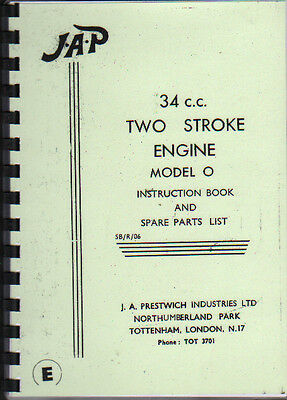 JAP 34 c.c. Two Stroke Model O Stationary Engine Spare Parts Manual