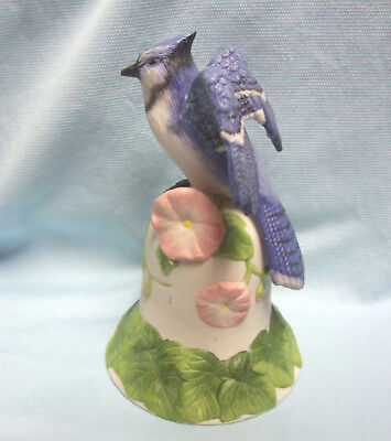 "2001 Avon Bell Blue Jay Bird Ontop of White Bell wi/ Pink Flowers Ceramic 6"" T"
