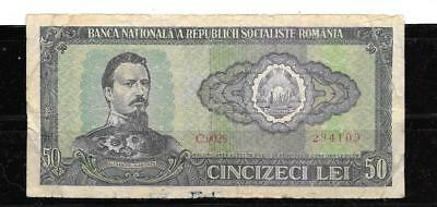 ROMANIA #96a 1966 GOOD CIRC 50 LEI OLD BANKNOTE PAPER MONEY CURRENCY BILL NOTE