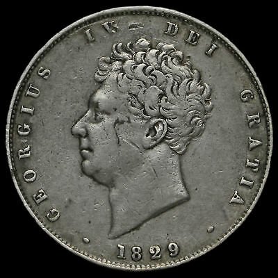 1829 George IV Milled Silver Half Crown, VF / GVF