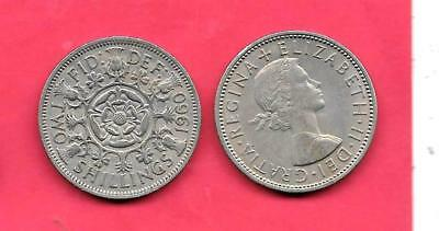 GREAT BRITAIN GB UK KM906 1960 vf-very fine-nice old vintage large florin coin
