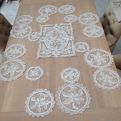 Antique 19 Pc Set Point De Venice Venise Lace Table Cloth Place Settings Doilies