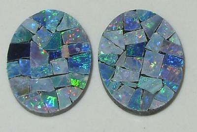7.56ct Pair Australia Opal Mosaic Doublet Ovals 16x12mm SPECIAL