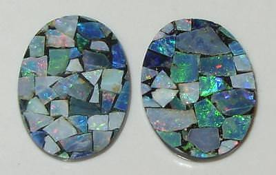 6.87ct Pair Australia Opal Mosaic Doublet Ovals 16x12mm SPECIAL