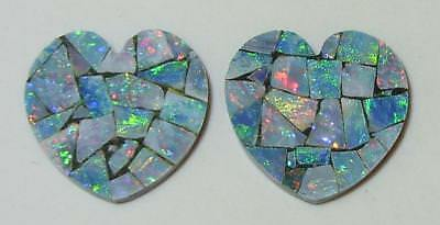 10.09ct Pair Australia Opal Mosaic Doublet Hearts 15mm SPECIAL