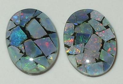 8.78ct Pair Australia Opal Mosaic Triplet Ovals 14x10mm SPECIAL